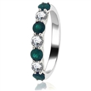 Image for 0.80CT Green Emerald and Diamond Eternity Ring