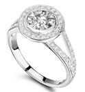 Split Shoulder Round Single Halo Diamond Ring
