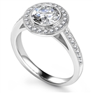 Designer Round Halo Shoulder Set Diamond Ring