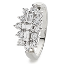 Image for 0.50CT Elegant Round & Baguette Diamond Dress Ring