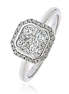 0.70CT Modern Round Diamond Halo Cluster Ring