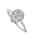 0.40CT VS/FG Round Diamond Pear Shaped Cluster Ring