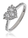 0.50CT Modern Pear Shaped Round Diamond Cluster Ring