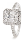 0.60CT Modern Round and Baguette Diamond Cluster Ring