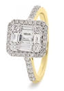 Image for 0.60CT Modern Round and Baguette Diamond Cluster Ring