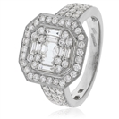 Image for 1.33CT Modern Round and Baguette Diamond Cluster Ring