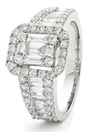 1.25CT Modern Round and Baguette Diamond Cluster Ring