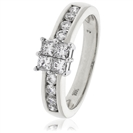 1.00CT Elegant Round/Princess Diamond Cluster Ring