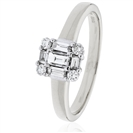 Image for 0.30CT Modern Round and Baguette Diamond Ring