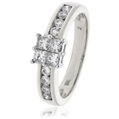 0.75CT Elegant Round/Princess Diamond Cluster Ring