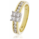 Image for 0.75CT Elegant Round/Princess Diamond Cluster Ring