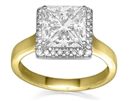 Image for Modern Princess Cut Diamond Single Halo Ring