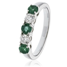 0.75CT Green Emerald and Diamond Eternity Ring