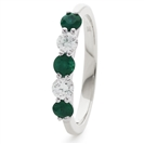0.30CT Green Emerald and Diamond Eternity Ring