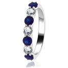 0.50CT Blue Sapphire and Diamond Eternity Ring