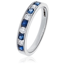 0.55ct VS/EF Blue Sapphire and Diamond Eternity Ring