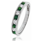 0.50CT Green Emerald and Diamond Eternity Ring