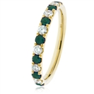 Image for 0.90CT Green Emerald and Diamond Eternity Ring