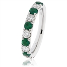 Image for 1.10CT Green Emerald and Diamond Eternity Ring
