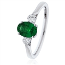 0.60CT Oval Green Emerald & Diamond Trilogy Ring