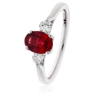 Image for 0.70CT Red Ruby & Diamond Trilogy Ring