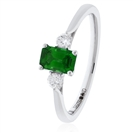 Image for 0.70CT Green Emerald & Diamond Trilogy Ring