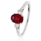 Image for 1.80CT Red Ruby & Diamond Trilogy Ring