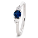 Image for 1.10CT Round Blue Sapphire & Diamond Trilogy Ring