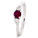 1.50CT Red Ruby & Diamond Trilogy Ring