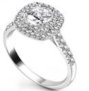 Cushion Diamond Double Halo Shoulder Set Ring