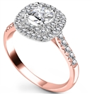 Image for Cushion Diamond Double Halo Shoulder Set Ring