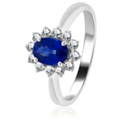Image for 2.50CT Blue Sapphire & Diamond Cluster Ring