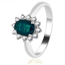 0.65CT Emerald & Diamond Engagement Ring