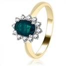 Image for 0.65CT Emerald & Diamond Engagement Ring