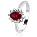 Image for 0.70ct Ruby & Diamond Cluster Ring