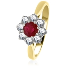Image for 1.30ct Ruby & Diamond Cluster Ring