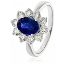 Image for 3.50CT Blue Sapphire & Diamond Halo Engagement Ring