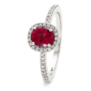 1.10CT Ruby & Diamond Halo Ring