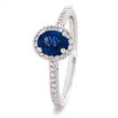 Image for 1.10CT Blue Sapphire & Diamond Halo Ring