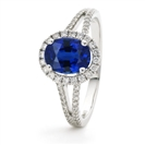 Image for 1.60CT Blue Sapphire & Diamond Halo Ring