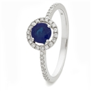 Image for 0.80CT Blue Sapphire & Diamond Halo Ring