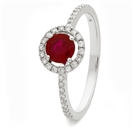 0.80CT Ruby & Diamond Halo Ring