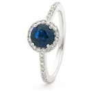 Image for 1.30CT Blue Sapphire & Diamond Halo Ring