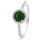 1.10CT Emerald & Diamond Halo Ring