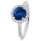 2.70CT Round Blue Sapphire & Diamond Cluster Ring