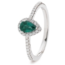 0.70CT Emerald & Diamond Halo Ring