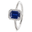 Image for 1.60CT Emerald Blue Sapphire & Diamond Ring