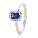 Image for 0.80CT Emerald Blue Sapphire & Diamond Ring