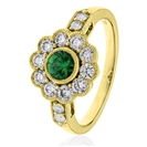 Image for 1.00CT Green Emerald & Diamond Halo Ring