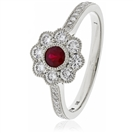 0.75CT Red Ruby & Diamond Halo Ring